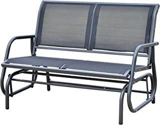 Koonlert@shop Patio Double 2 Person Glider Bench Rocker Porch Love Seat Swing Chair Grey #706