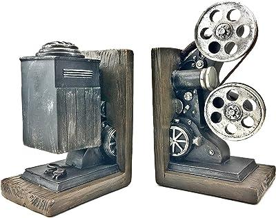 Bellaa 20904 Vintage Camera Bookends Film Movie Projector Black and Silver 8 Inch