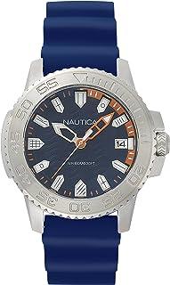 Nautica Men's KEYWEST Stainless Steel Japanese-Quartz Watch with Silicone Strap, Blue, 22 (Model: NAPKYW001