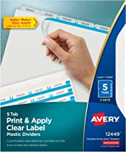 Avery Index Maker Translucent Dividers with Clear Label, 5 Tabs, 5 Sets (12449)