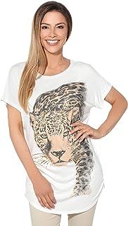 KRISP Women Oversized Long T Shirt Ladies Animal Tunic Blouse Casual Batwing Top Tee