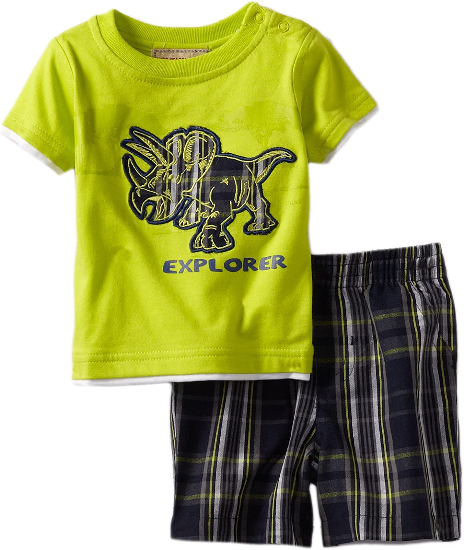 Kids Headquarters Baby-Boys Newborn Tee With Plaid Shorts