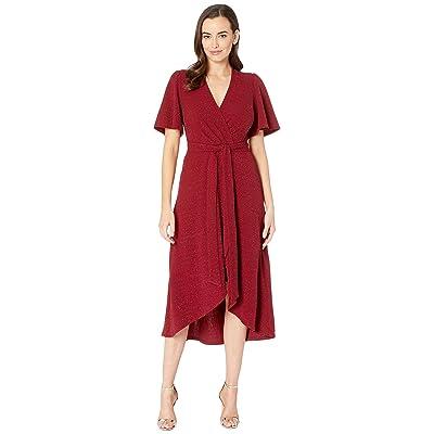 Donna Morgan Metallic Knit Fit and Flare w/ Lantern Sleeve (Wine) Women