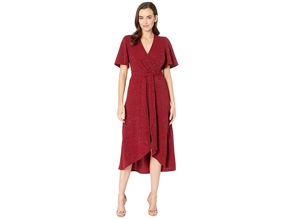 Donna Morgan Metallic Knit Fit and Flare w/ Lantern Sleeve (Wine) Women