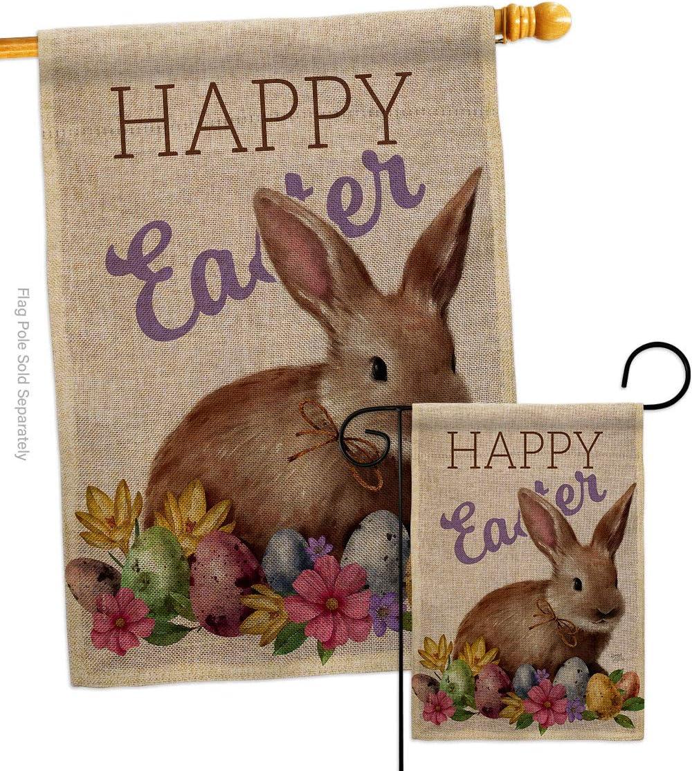 Breeze Decor Bunny Burlap Garden House Spring lowest price Set Ha High quality Flag Easter
