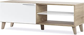 Habitdesign 026670F - Mueble de Comedor Moderno Mueble Salon TV Color Blanco Brillo y Roble Canadian Modelo Nara Medida...