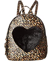 Backpack with Faux Fur Heart