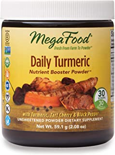 MegaFood, Daily Turmeric Nutrient Booster Powder, Post-Exercise Recovery Vegan, Unsweetened, 2.08 oz (30 servings)