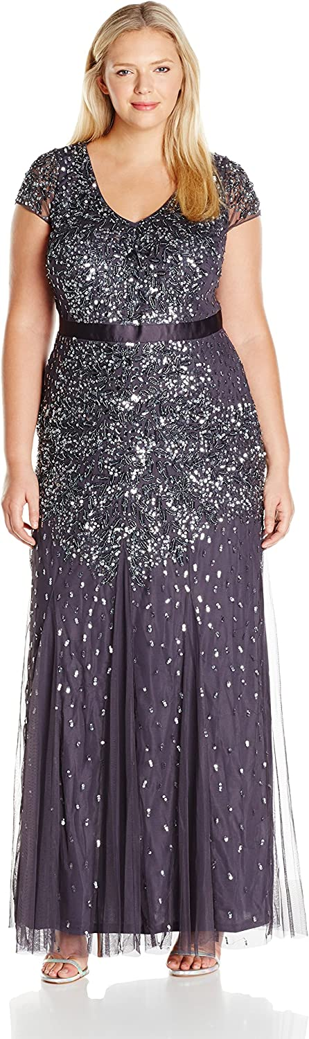 Adrianna Papell Women's Plus Size Cap Sleeve VNeck Fully Beaded Gown