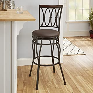 Adjustable Barstool, Oil Rubbed Bronze Adjustable height barstool with wood accented back Sturdy metal textured finish 360-degree swivel Product Dimensions (L x W x H): 16.25 x 18.88 x 43.88 Inches