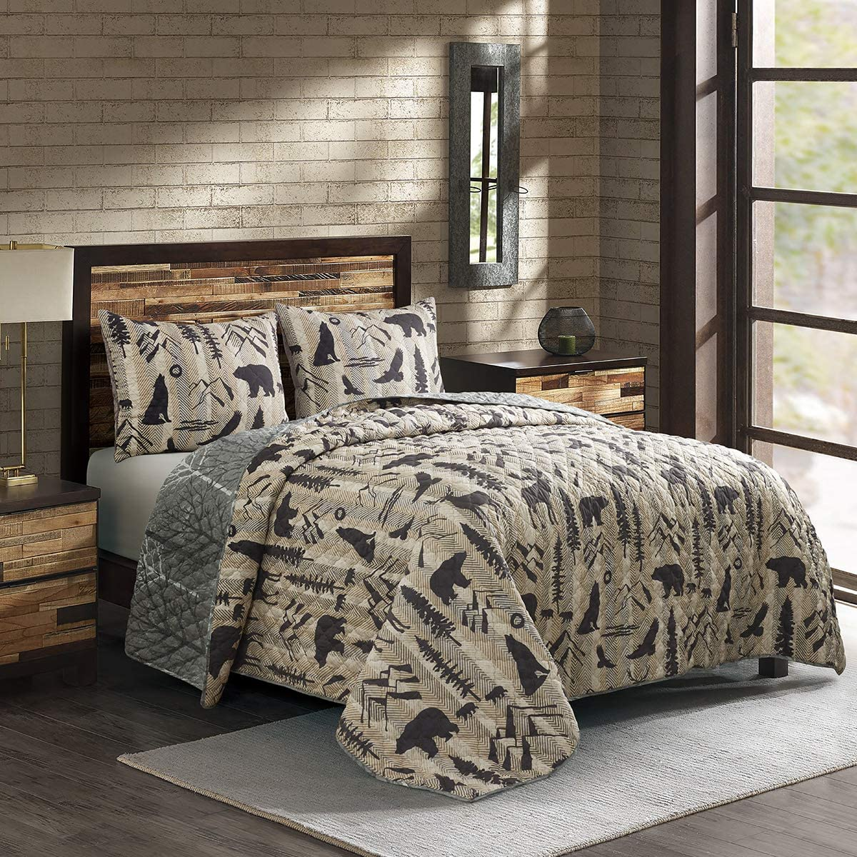 Full / Queen Bedding Set - 3 Piece - Timber by Donna Sharp - Lodge Quilt Set with Full/Queen Quilt and Two Standard Pillow Shams - Machine Washable