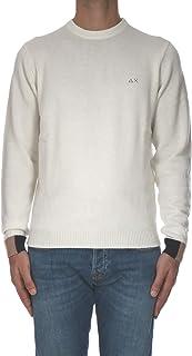 Sun68 - Camisa de Hombre Redondo del Color SÓLIDO de la Costilla Blanco Crema