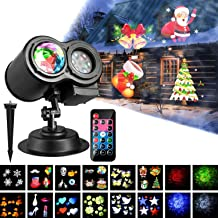 BOSWEE KF-001YZH Decorat Christmas Projector 2-in-1 Moving Patterns with Ocean Wave LED Landscape Lights Waterproof Outdoor Indoor Xmas Theme Party Yard Garden Decorations, 12 Slides 10 Colors, Black
