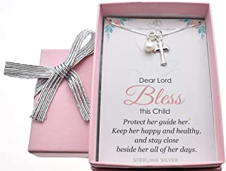 """Baby Girl's Cross necklace in Sterling Silver with genuine Swarovski Crystal pearl on a 14"""" sterling box chain. Baby girl gift. Baptism gift for baby girl. Baby shower. Little girl jewelry. M3102"""