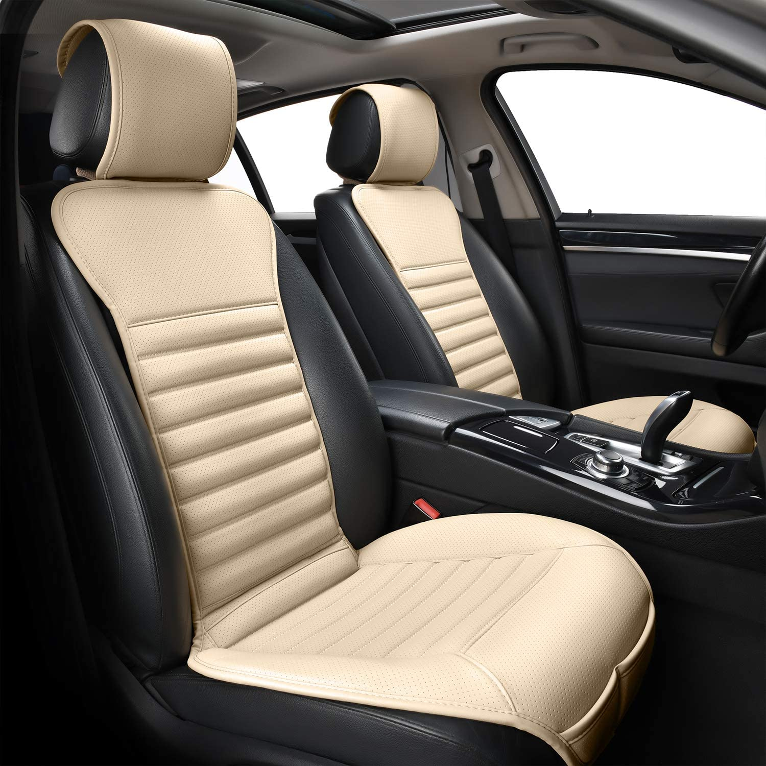 Beige /… Sunny color 2pc Filling Bamboo Charcoal Car Front Seat Cover Cushion Pad Mat for Auto with PU Leather