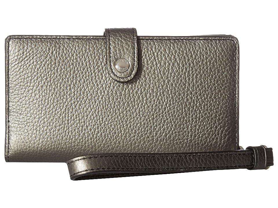 COACH Box Phone Wristlet (SV/Gunmetal) Wristlet Handbags