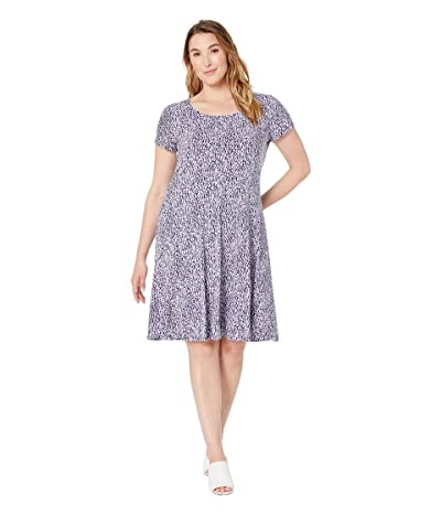 MICHAEL Michael Kors Plus Size Mini Ikat Cap Dress (Dark Lavender) Women