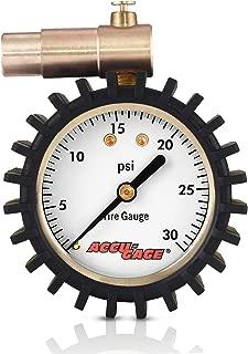 Accu-Gage Fat Bike Presta Valve Low Pressure Bicycle Tire Gauge, 30psi