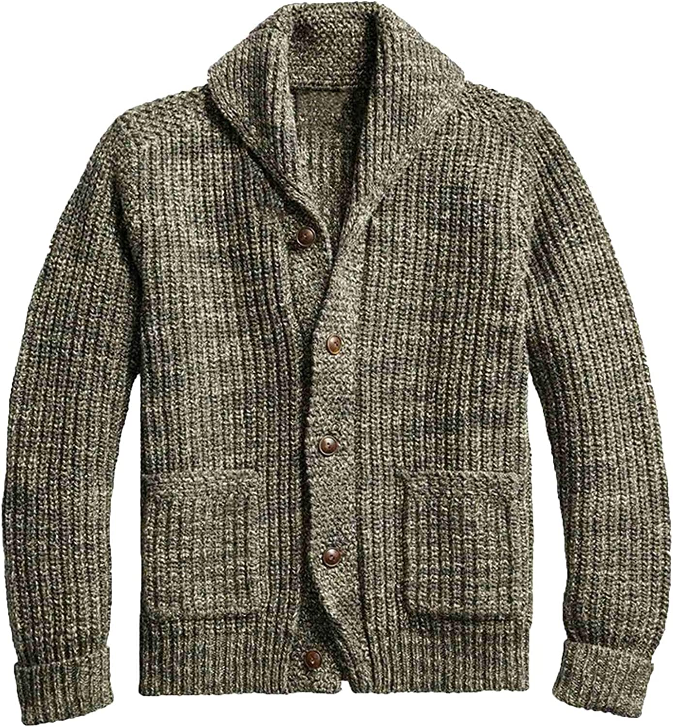 Huangse Men's Chunky Cable Knit Shawl Neck Button Down Open Front Cardigan Sweater Knitted Cardigan Sweater