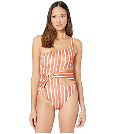 Vince Camuto Hammock Stripe One Shoulder Ring Wrap One-Piece (Papaya) Women