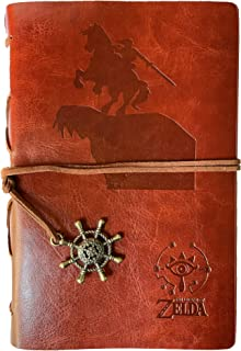 FEIDIAO Vintage Refillable Journal Diary Loose Drawing Paper ,Breath of The Wild Legend of Zelda Sheikah Slate PU Leather Classic Embossed Travel Journal Notebook with Retro Pendants (Brown)
