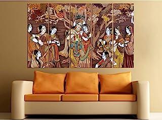 Kyara arts Big Size Multiple Frames, Beautiful Radha Krishna Wall Art Painting for Living Room, Bedroom, Office, Hotels, D...