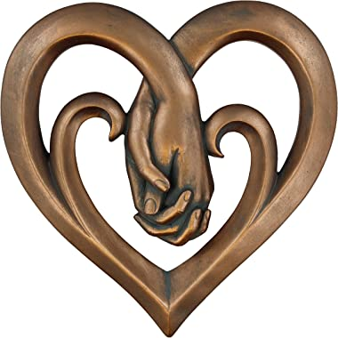 Heart Holding Hands Wall Decor Decorative Art Sculpture - Copper Bronze Verdigris Finish - Forever Love