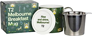 T2 Tea H210BC947 Iconic Fine Bone China Mug with Stainless Steel Infuser, Melbourne Breakfast (400ml / 13.5floz), 400 milliliters