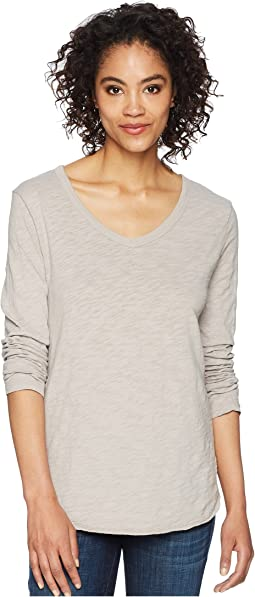 Dylan by True Grit - Soft Slub Long Sleeve V-Neck Tee with Rib Detail