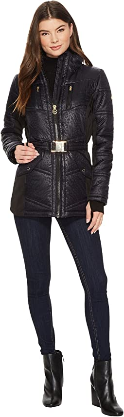 MICHAEL Michael Kors - Zip Front Embossed Jacket with Knit Sides MA420413CZ