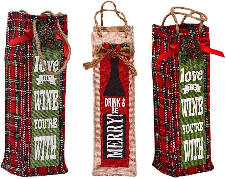 Ur HQCC Botella de Vino de Navidad Cubre la Botella del Bolso de Lino de Vacaciones Santa Claus Navidad de la Cubierta Champagne Decoración para el hogar