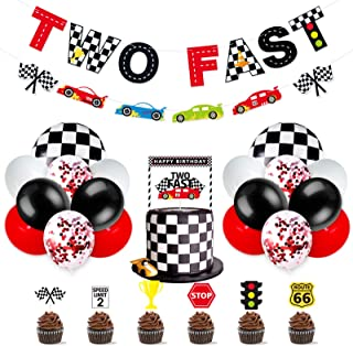 Race Car Two Fast Party Decorations Supplies Racing Theme 2nd Birthday Party Banner Race Car Second Birthday Cake Topper C...