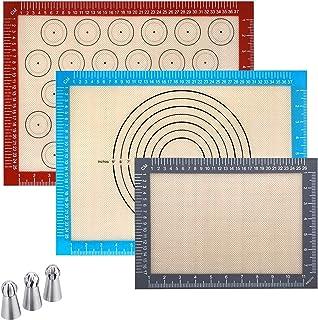 OhMyGoods ⭐ Lot de 3 Tapis de Cuisson en Silicone Réutilisable 42 x 30 cm, Résistant à la Chaleur, Anti-adhérent et sans B...