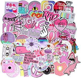Cute Pink Laptop Stickers for Teens Girl Lovely Pink Water Bottle Stickers, 53 Pcs Pack Vinyl Skateboard Computer Travel Case Guitar Luggage Car Bike Phone Graffiti Decal (53 Pink)