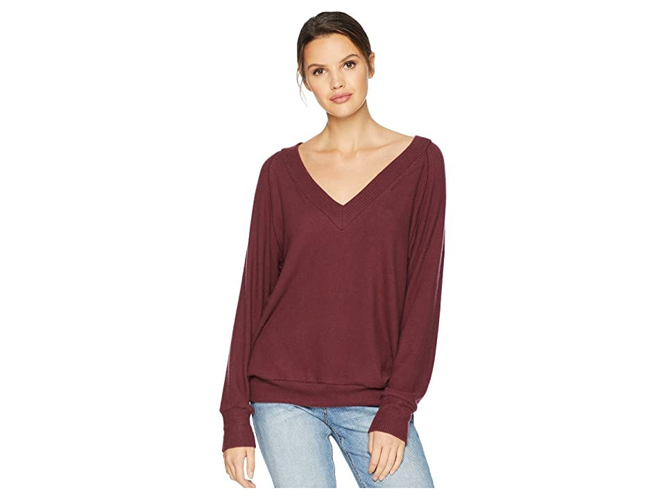 LNA Brushed Moby V-Neck (Heather Rust) Women's Long Sleeve Pullover