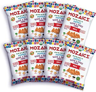Mozaics Organic Popped Veggie & Potato Chips- Healthy snack~100 calorie snack, better than veggie straws or stix - gluten free - 3.5oz big bags (BBQ, 8-count)