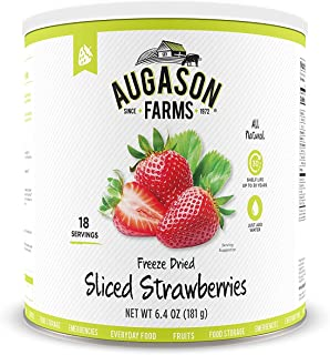 Augason Farms Freeze Dried Sliced Strawberries 6.4 oz No. 10 Can (1 CAN)