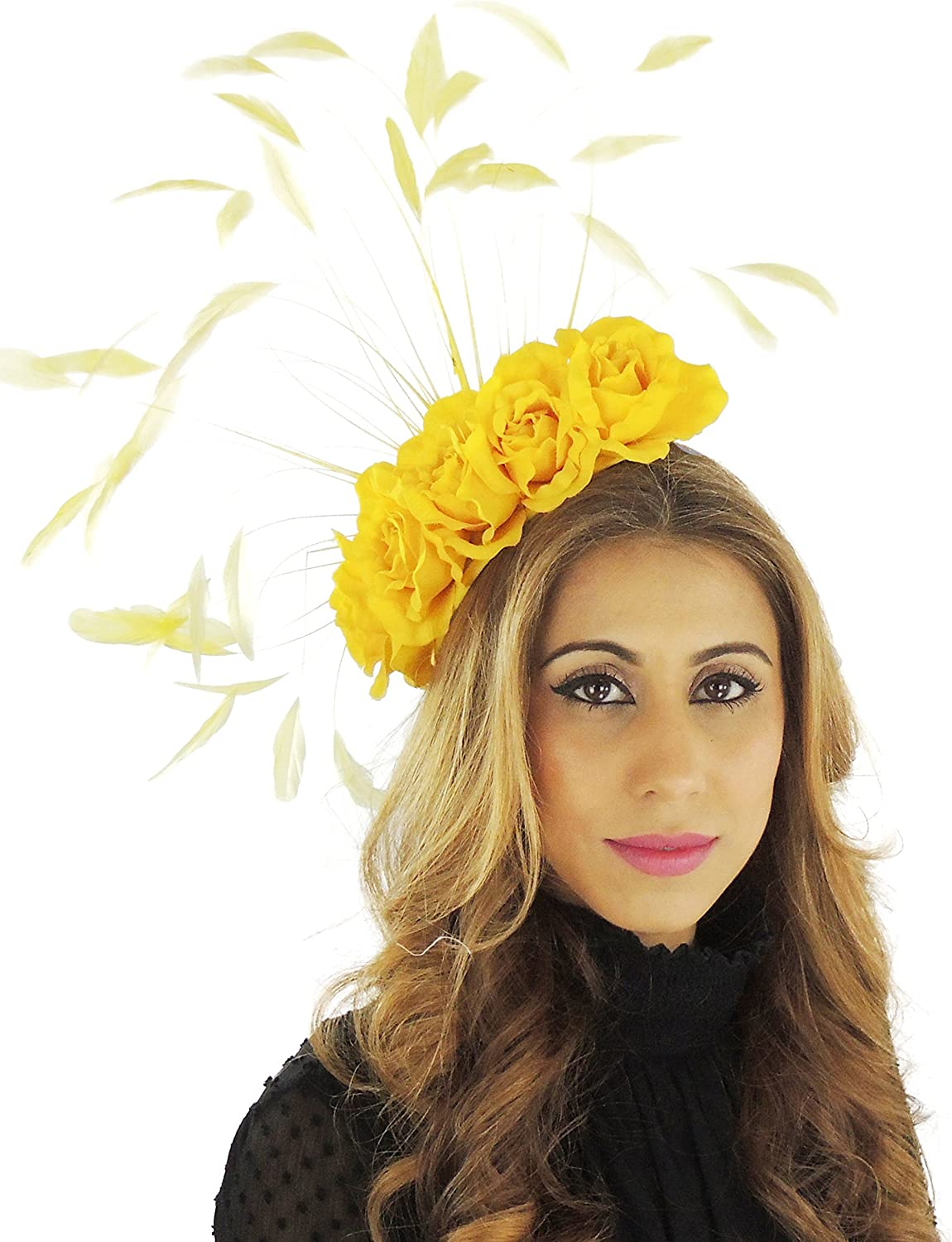 Hats By Cressida Beautiful Yellow Feather Ascot Kentucky Derby Wedding Fascinator Hat