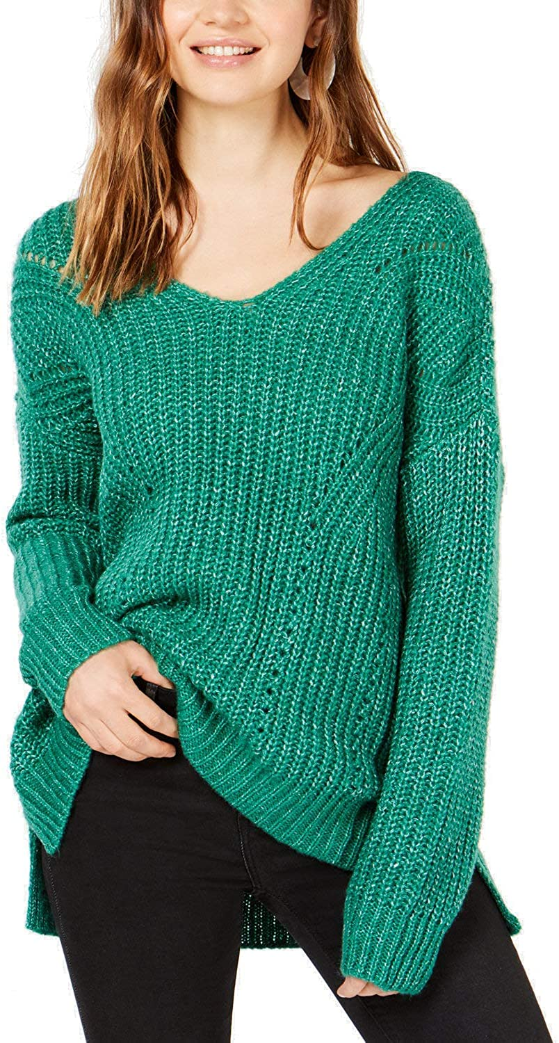 Hippie Rose Womens Lace-Up Ribbed Trim Pullover Sweater