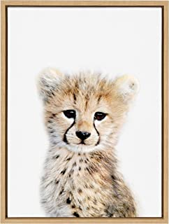 Kate and Laurel Sylvie Baby Cheetah Animal Print Portrait Framed Canvas Wall Art by Amy Peterson, 18x24 Natural