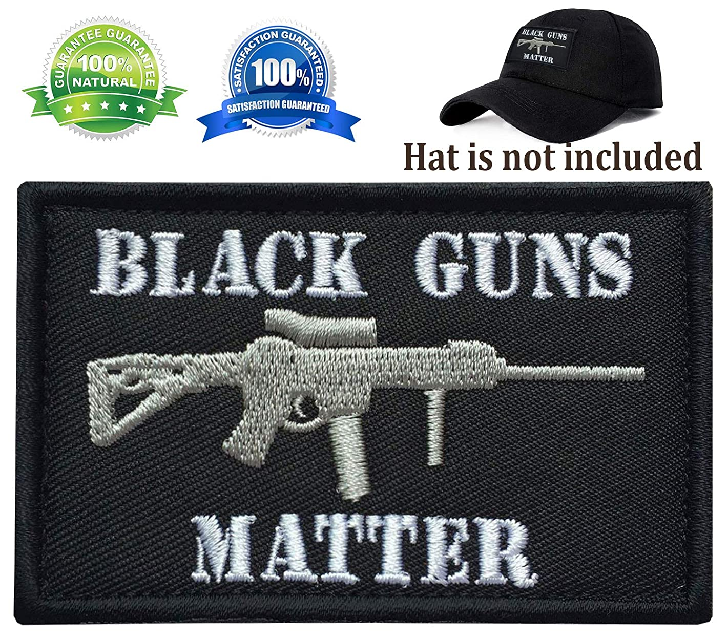 Ehope 3D Embroidery Black Guns Matter Patch Tactical Morale Badge Hook & Loop Patch(Black Guns Matter-BLK+WHT)