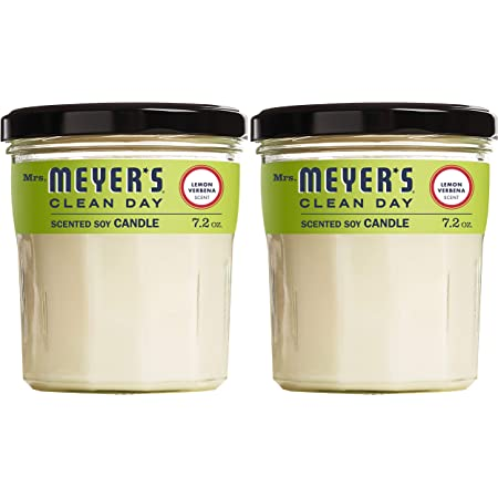Mrs. Meyer's Clean Day Scented Soy Aromatherapy Candle, 35 Hour Burn Time, Made with Soy Wax and Essential Oils, Lemon Verbena, 7.2 oz- Pack of 2