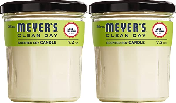 Mrs Meyer S Clean Day Scented Soy Candle Large Glass Lemon Verbena 7 2 Oz 2 Ct