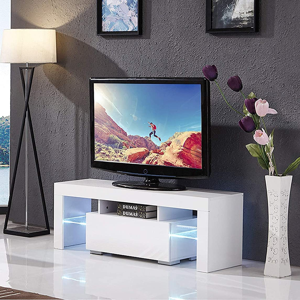 Mecor Modern White TV Stand, 51 Inch High Gloss LED TV Stand Console Table for Living Room