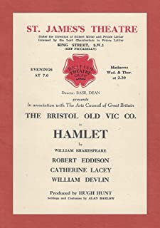 "Robert Eddison""HAMLET"" Catherine Lacey/William Devlin/Bristol Old Vic Company 1948 London Flyer"
