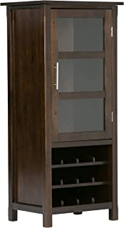 Simpli Home AXCAVA006 Avalon 12-Bottle Solid Wood 23 inch Wide Contemporary High Storage Wine Rack Cabinet in Dark Tobacco Brown
