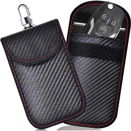 Black Wakauto Car Key Signal Blocker Pouches Signal Shielding Pouch Bag for Keyless Car Theft Prevention 2Pcs Carbon Fiber Signal Blocking Bag for Key Fob