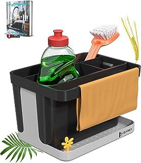 Luamex® Organisateur d'évier en paille de blé – Égouttoir – Porte-éponge – Outil de rangement – Porte-ustensiles de cuisin...
