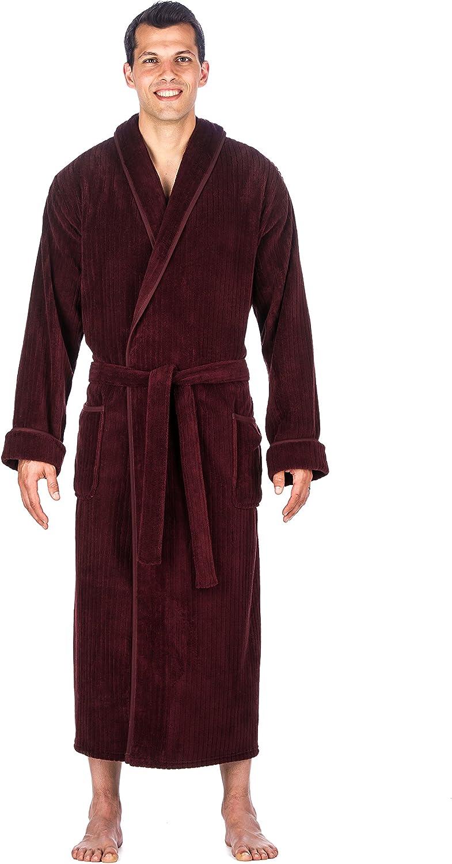 Noble Mount Mens Premium Coral Fleece Long Hooded Plush Spa/Bath Robe