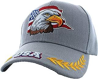 American Patriotic USA Eagle Flag Baseball Adjustable Hat Cap Light Grey